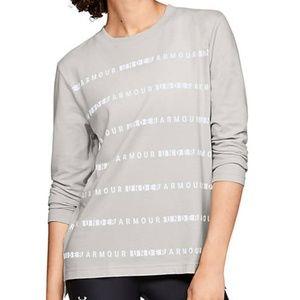 NWT Under Armour LS Graphic Stripe Gray Shirt XL